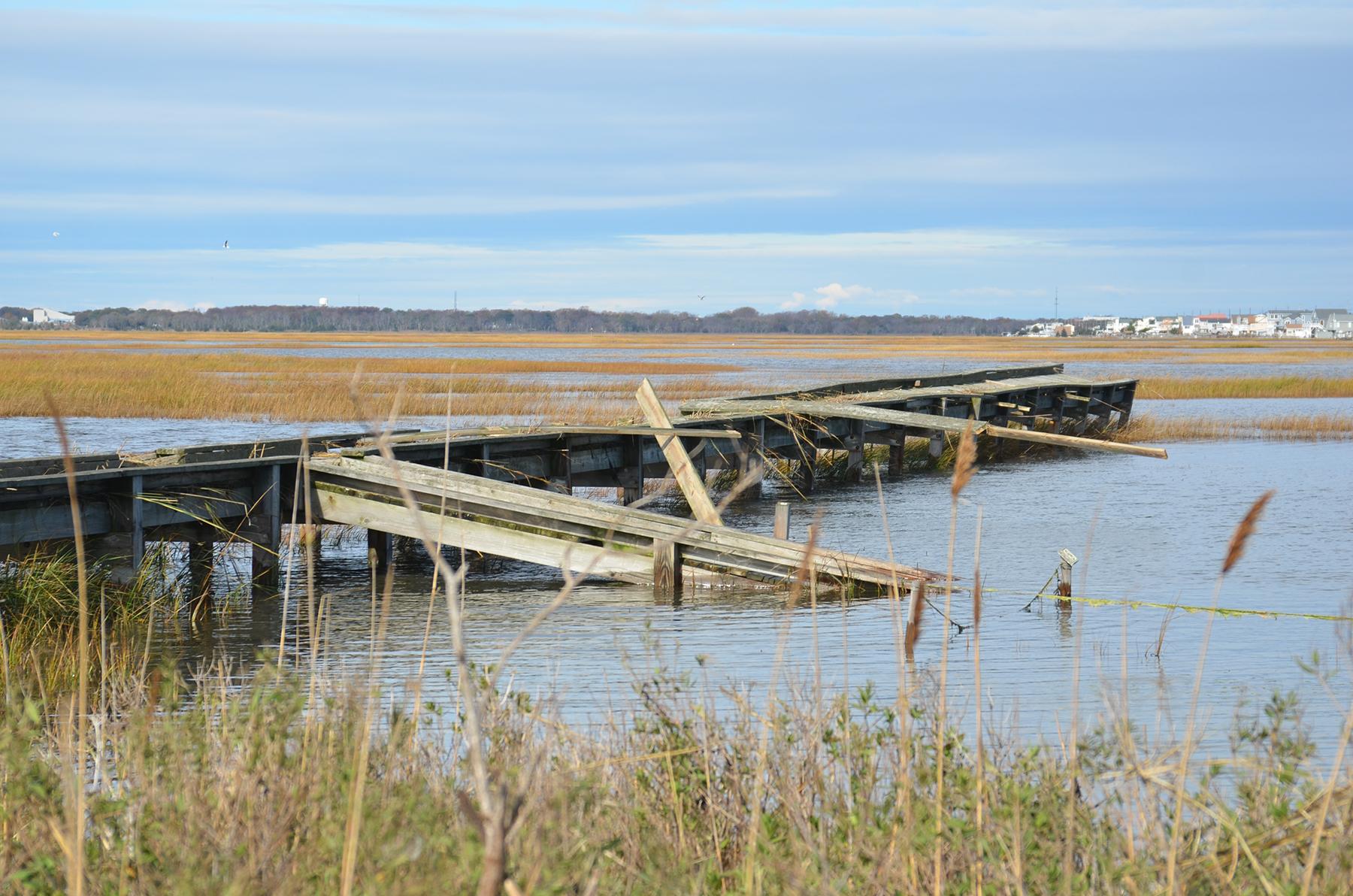 Storm damaged marsh boardwalk