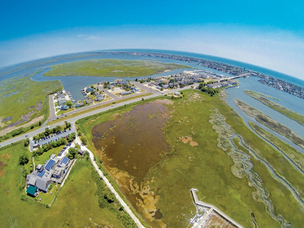 An aerial view of The Wetlands Institute and Stone Harbor